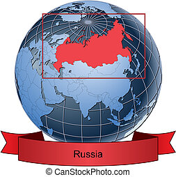 Russia, position on the globe Vector version with separate layers for globe, grid, land, borders, state, frame; fully editable