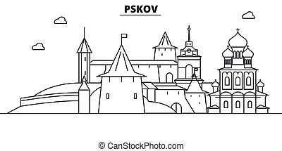 Russia, Pskov architecture line skyline illustration. Linear vector cityscape with famous landmarks, city sights, design icons. Landscape wtih editable strokes