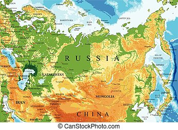 Highly detailed physical map of Russia, in vector format, with all the relief forms, regions and big cities.