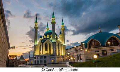 Russia, Republic of Tatarstan, Kazan, Qol rif Mosque, time lapse,Beautiful Evening Cityscape.