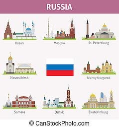 russia., símbolos, ciudades