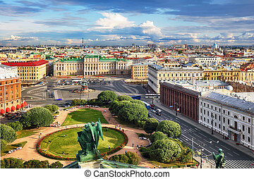 Russia, Saint Petersburg Aerial View from Saint Isaac's Cathedral in of the city