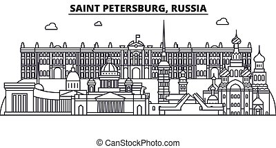 Russia, Saint Petersburg architecture line skyline illustration. Linear vector cityscape with famous landmarks, city sights, design icons. Landscape wtih editable strokes