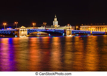 RUSSIA, SAINT PETERSBURG - AUGUST 18, 2017:  Landmarks of Vasilievsky island spit - The Palace Bridge, rostral column and old stock exchange building. Urban landscape of St Petersburg  in a dark summer night