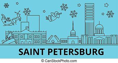 Russia, Saint Petersburg city winter holidays skyline. Merry Christmas, Happy New Year with Santa Claus. Russia, Saint Petersburg city linear christmas city vector flat illustration