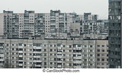 Panoramic view of the old panel house on the outskirts of...