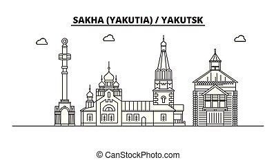 Russia, Sakha Yakutia , Yakutsk. City skyline: architecture...