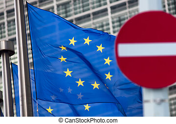 Russia sanctions. 'No entry' sign in front of European comission flags.