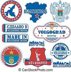 russia., sellos, conjunto, volgograd, señales
