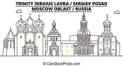 Russia - Sergiev Posad, Lavra travel famous landmark skyline, panorama, vector. Russia - Sergiev Posad, Lavra linear illustration