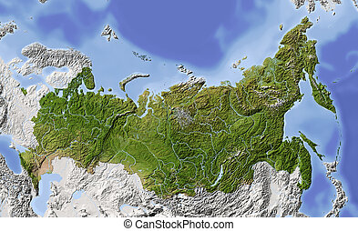 Russia, shaded relief map - Russia. Shaded relief map of...