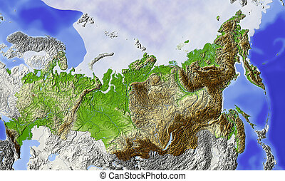 Russia, shaded relief map - Russia. Shaded relief map of...