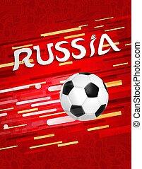 Russia soccer ball on festive sport background
