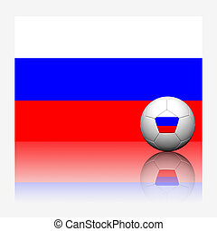 Russia soccer football and flag with reflect on white background