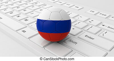 Russia soccer football ball isolated on a white computer keyboard. 3d illustration