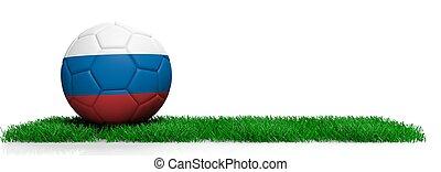 Russia soccer football ball on grass, white background. 3d illustration