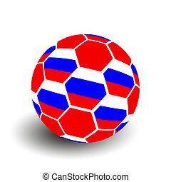 Russia soccer football ball with Russian flag isolated on white background