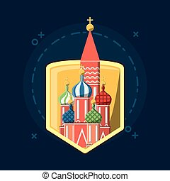 Russia Soccer World Cup design - shield with Saint Basils...
