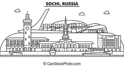 Russia, Sochi architecture line skyline illustration. Linear...
