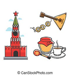 Russia Soviet Union symbols for USSR Russian travel tourist...