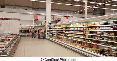 Sauerkraut and salted vegetables in a supermarket - Russia, ...