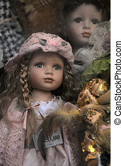 Vintage dolls in a shop window
