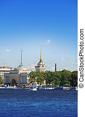 Russia. St. Petersburg. A view of the Admiralty through Neva