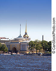 Russia. St. Petersburg. A view of the Admiralty through Neva.