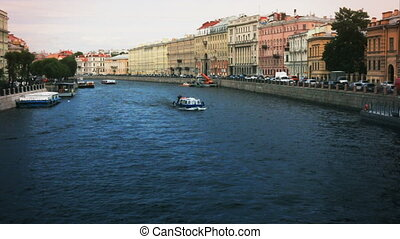 Russia St. Petersburg Fontanka river ships summer tourism
