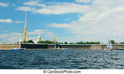 Russia St. Petersburg Neva River fortress panorama water
