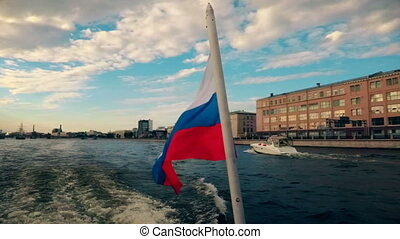 Russia St. Petersburg Neva River motor vessel flag of Russia...