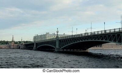 Russia St. Petersburg panorama of the city from the river...
