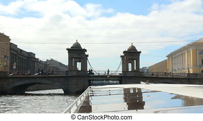 Russia St. Petersburg River first-person architecture -...