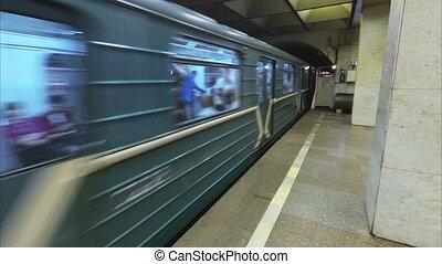 Russia St. Petersburg subway train arrival