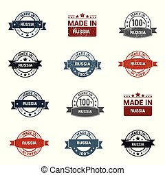 Russia stamp design set vector