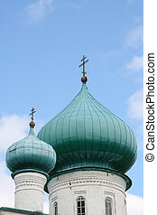 Cupolas of Orthodox church - Russia, Staraya Ladoga. Cupolas...