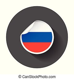 Russia sticker with flag. Vector illustration with long shadow.