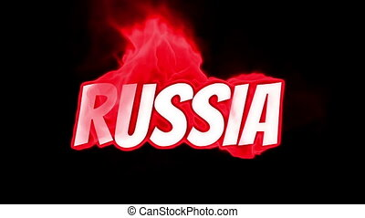 russia. text on fire. word in fire. high turbulence. Text in...