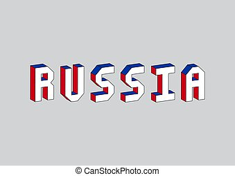 Russia text with 3d isometric effect