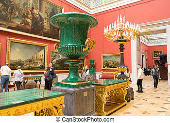 Russia. The Hermitage. Hall of the Italian art of 17-18...