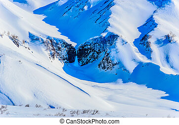Russia, the Kamchatka Peninsula. Freeride skiing on ...