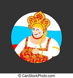 Russia thumbs up and winks girl. Russian woman happy. Female joyful in national costume. ethnic Historical cap Kokoshnik with Khokhloma painting. folk Dress.