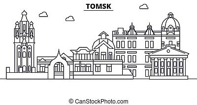 Russia, Tomsk architecture line skyline illustration. Linear vector cityscape with famous landmarks, city sights, design icons. Landscape wtih editable strokes