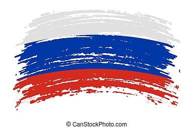 Russia torn flag in grunge brush stroke, vector