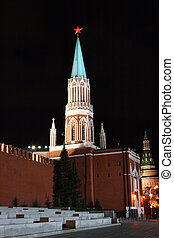 Russia. tower of kremlin, Moscow, night