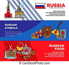 Russia travel destination promotional posters with country...