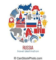 Russia travel destination vector illustration. Kremlin...