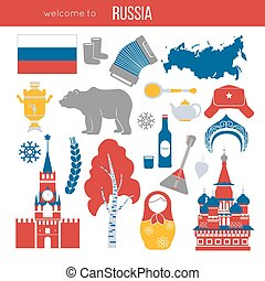 Russia travel destination vector illustration. Kremlin...
