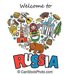 Russia travel heart set with traditional national elements icons set