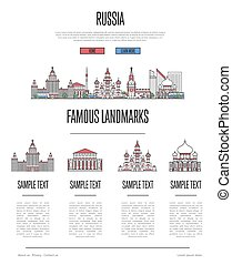 Russia travel infographics in linear style
